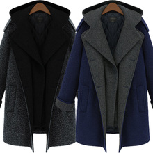 Autumn Women Wool Coat Plus Size Slim Type Patchwork Wool Blend Coat Ladies Cashmere Made Long Type Single Bresated Trench Coats