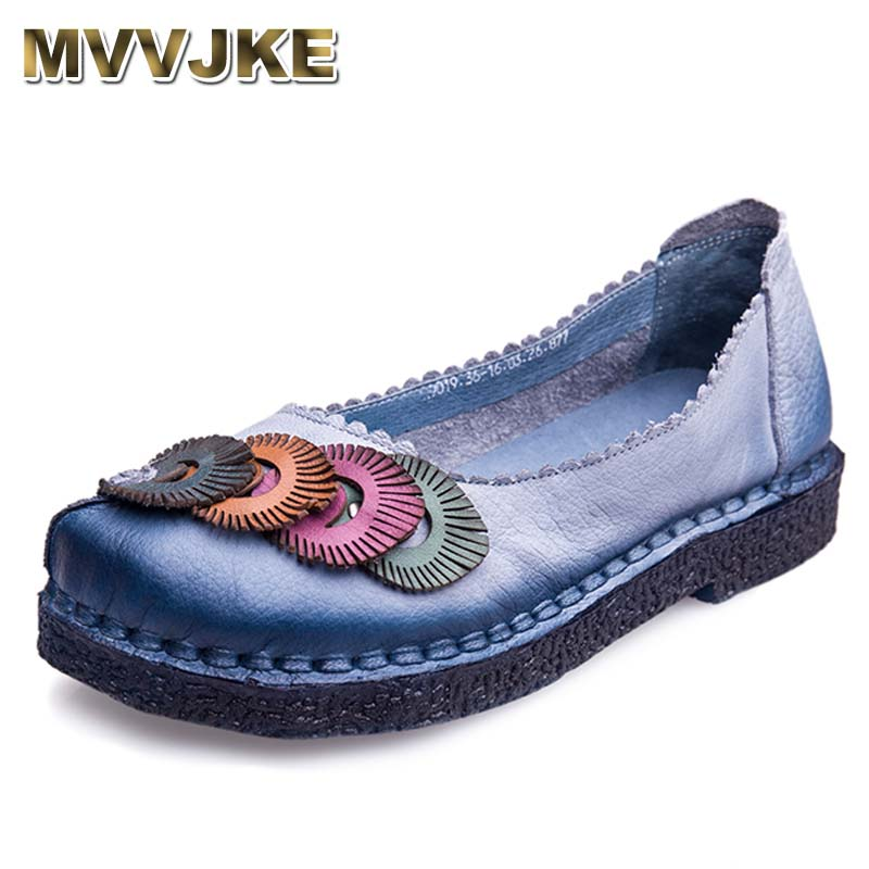 MVVJKE Genuine Leather Flat Shoes Plus Size Real Leather Handmade Flats Loafers Female Solid Comfortable Casual Women Shoes muyisexi solid genuine leather with 3d flower loafers sneakers flat height increase casual women shoes gray black plus size bs01