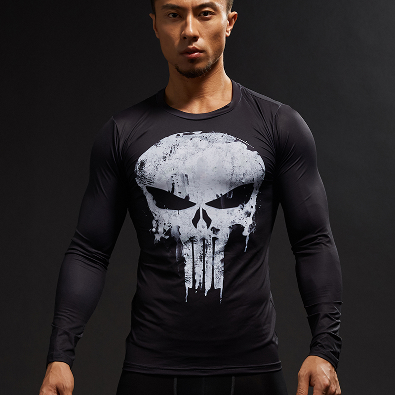 Men's Clothing Mens Compression Shirts Bodybuilding Skin Tight Long Sleeves Jerseys Clothings Mma Crossfit Exercise Workout Fitness Sportswear T-shirts