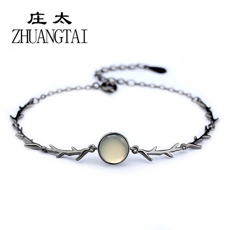 ZHUANGTAI Fashion Moonstone Charm Bracelet For Women Korean Black Personalized Friendship Bracelets & Bangles Jewelry Pulseira