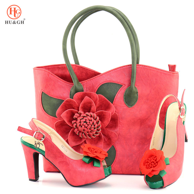 2018 Summer Sandals Red African Women Italian Shoes and Bag Set Decorated with Rhinestone Ladies Wedding Matching Shoe and Bag doershow african women matching italian red color shoes and bag set decorated with rhinestone italian ladies shoe and bag sab1 2