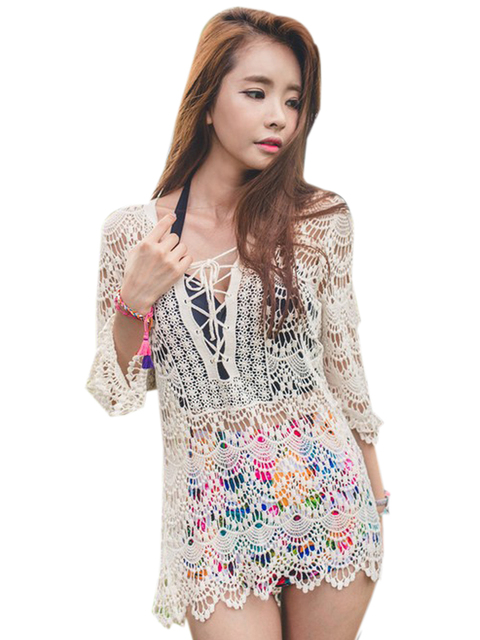 Crochet Front Lace Up V Neck See Through Sexy Blouse Floral Pattern