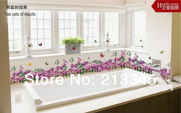 Kitchen Tiles Stickers aliexpress : buy [fundecor] purple butterfly flower baseboard