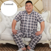 NEW Men's Sleepwear Cotton Pajamas Set Short Sleeve Pyjamas Trousers Men Lounge Sleep Pajama Set Plus size 5XL Wear 140KG