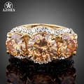 AZORA Sparkling Gold Plated 3pcs Gold Colour Stellux Austrian Crystal Ring TR0081