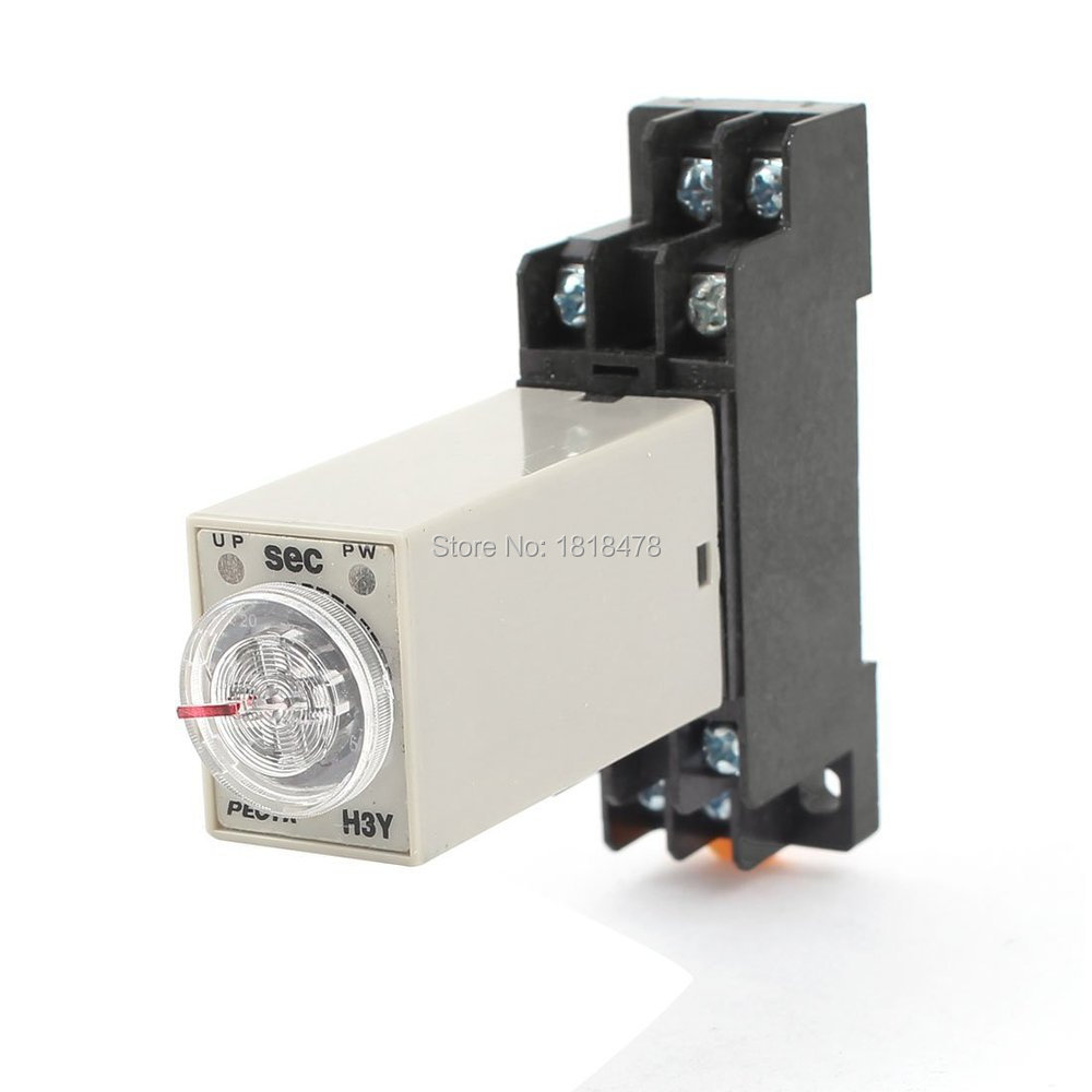 AC 220V H3Y-2 Time Delay Relay Solid State Timer 0-60S DPDT w Socket max 10s 12vdc h3y 2 power on 3a time delay relay solid state dpdt socket base