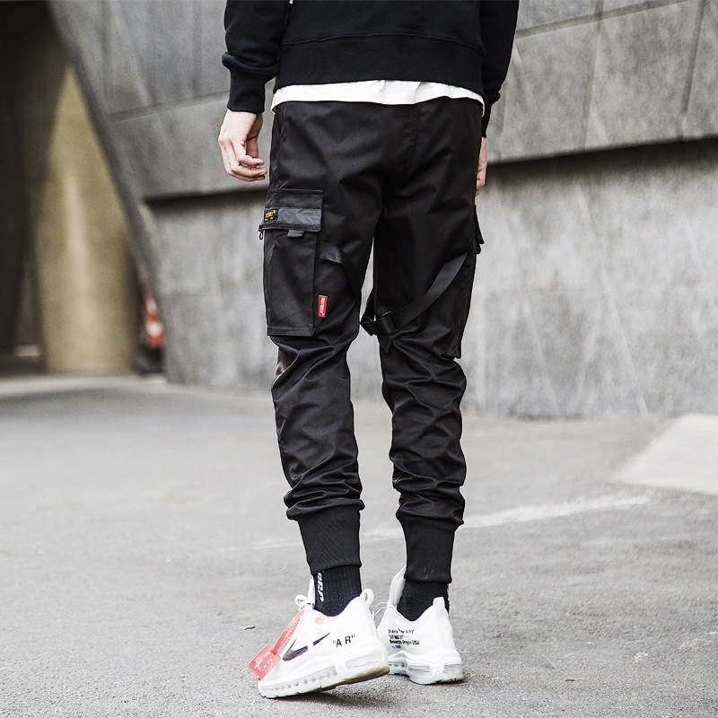 Men Ribbons Color Block Black Pocket Cargo Pants Harem Joggers Harajuku Sweatpant Hip Hop Trousers 2019 new hot sale
