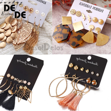 5 Pairs/set Women Female Stud Earring Fashion Metallic Polygonal Leopard Print Acrylic Earrings Set 2019