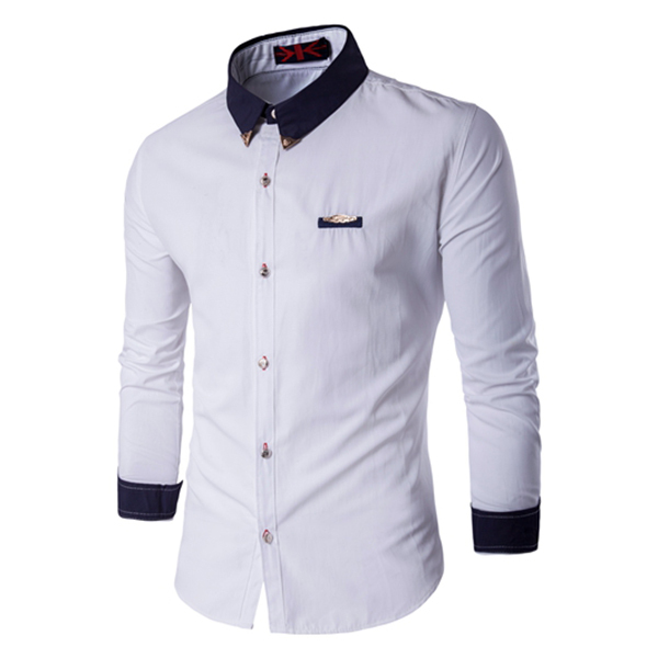 AMAZING!!!!7 Color  Size M--5XL Slim Fit  Solid Shirts  Mens Long Sleeve  Casual Clothes Dress Shirt Single Breasted  14CS94