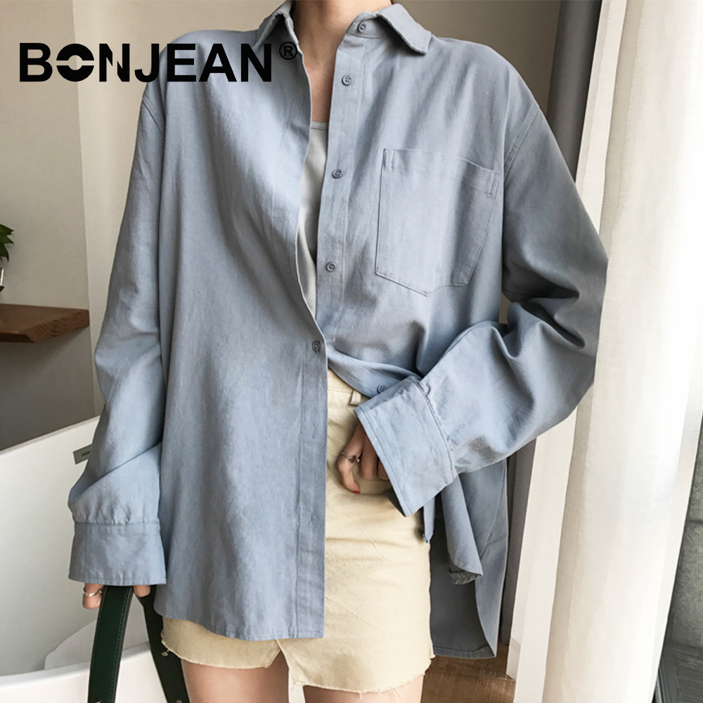 Cotton   Blouse   Women Summer   Shirt   Ladies Spring Long Sleeve Blue White   Blouse   Casual Tops Chemisier Femme 2019 Blusas Mujer Z085