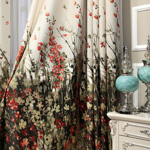 Good Luxury Thick Chenille Jacquard Half Blackout Curtains Living/Bed Room Jungle  Window Curtains Papelaria Kitchen