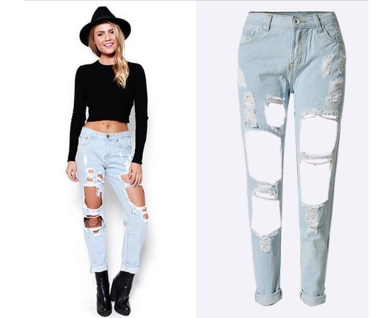 New 2016 Hot Fashion Ladies Cotton Denim Pants Stretch Womens Bleach Ripped Skinny Jeans Denim Jeans