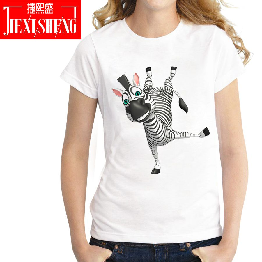 Lovely Cartoon A Zebra Printing Women T Shirt Summer Casual Short Sleeves Tshirt Plus Size Female Tee Tops