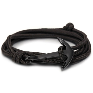 High quality fashion black anchor bracelet men's charm survival rope chain leather friendship bracelet men and women jewelry(China)