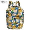 24 cm de Tamaño Pequeño Anime Adventure Time Cartoon Impresión de la Lona de Los Niños Mochila Escolar Bolsas B G
