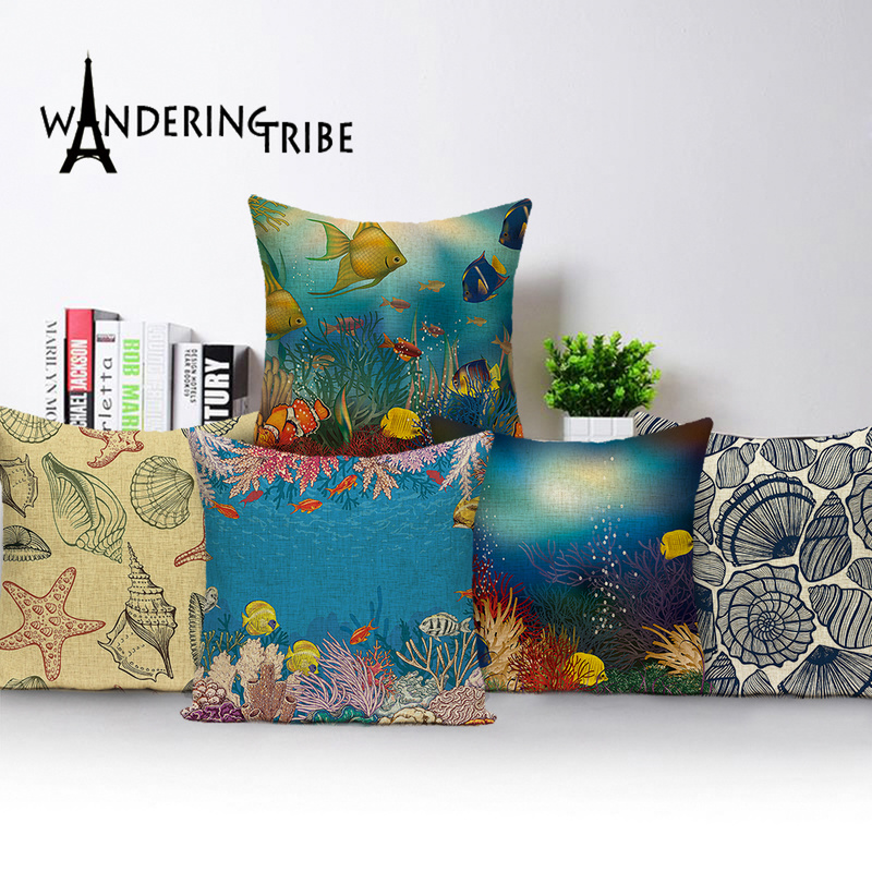 Marine Style Decoration Throw Pillow Covers Ocean Biology Cushions Seashells Coral Medusa Fabric Decor Home Blue Cushion Cover