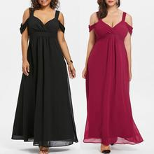 Sexy Women maxi dress 2019 Summer Plus Size Beach Long Maxi Dress Chiffon Cold Shoulder V-Neck Empire Waist