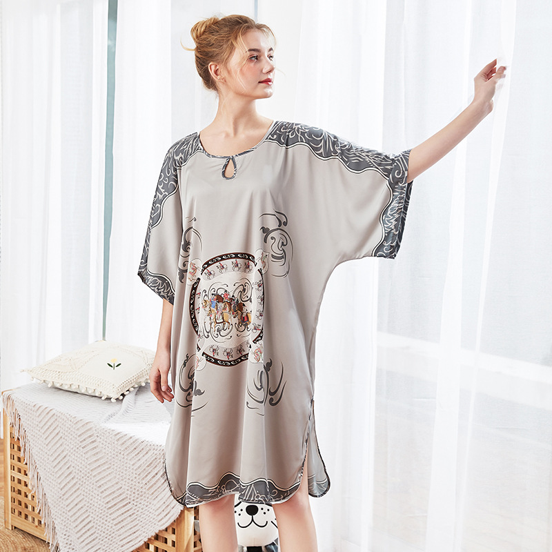 Feier Plus Size Women Large One Sleepshirt 2019 New Faux Silk Sexy Summer Short Sleeves Nightgowns Ladies Prints Sleepwear