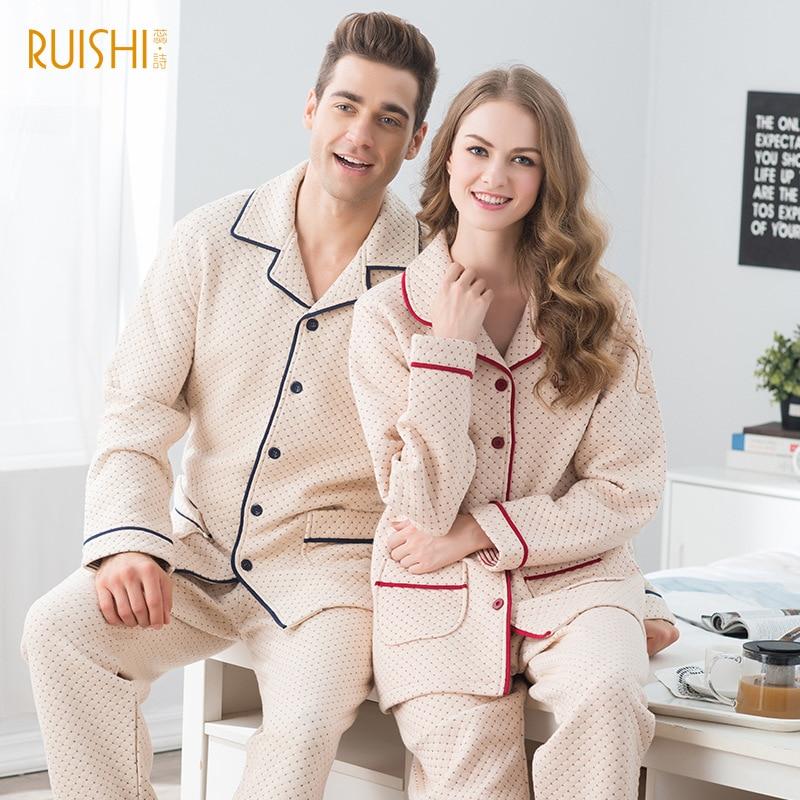 Warm Home Suit New Couple Cotton Pajamas Men and Women s Lapel Cardigan Long Sleeve Suit