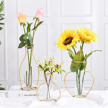 RUX WORKSHOP Nordic Style vase decoration home Golden Iron Art Wire Vases Dried Flower Flower Ornaments Home Party Decoration