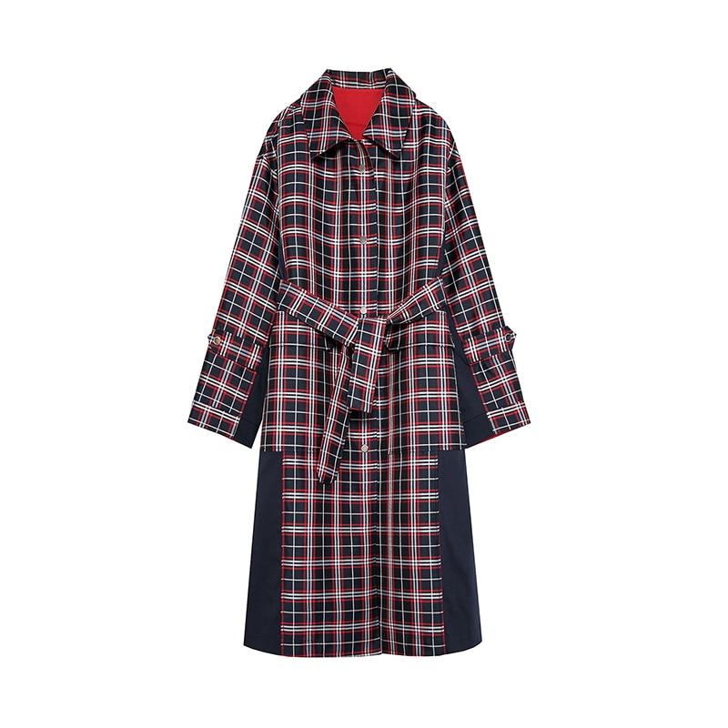 Bloc Nouvelle Long Femmes Couleur Arrivée Trench Plaid 2018 Rouge Multi Manteau De Tendance qqw1fr6xPt