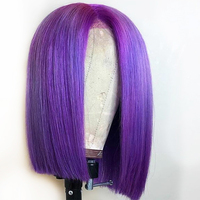Eversilky Short Bob Wig Blue Wig Lace Front Human Hair Wigs For Women Peruvian Purple Lace Front Wig Remy Hair Pre Plucked