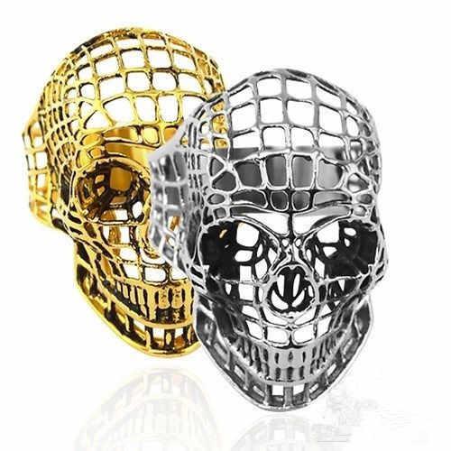 Retro Masculino Anel Oco Hop Imitação Liga de Titânio cabeça fantasma do punk oco grade belas jóias crânio de prata de ouro