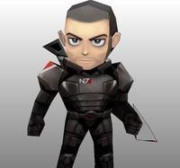 Mass Effect Game Shepard Handmade DIY Paper Model Q Version 24 Cm High