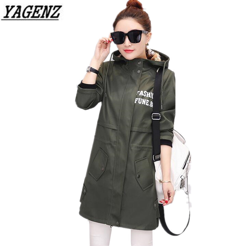 YAGENZ Large size Women Hooded Windbreaker coat 2018 Spring Autumn Long sleeved Medium-long loose Outerwear Casual Female Trench