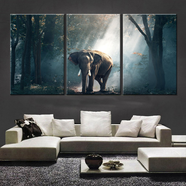 3piece Canvas Print Elephant In Forest Animal Picture Wall Decor