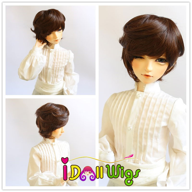 Free Shipping High Temperature Fiber Synthetic Doll Wig Blended Short Boy Style Bjd Wigs 1/3 1/4 1/6 For Choice 2 colors on sale short fluffy high temperature fiber straight wig