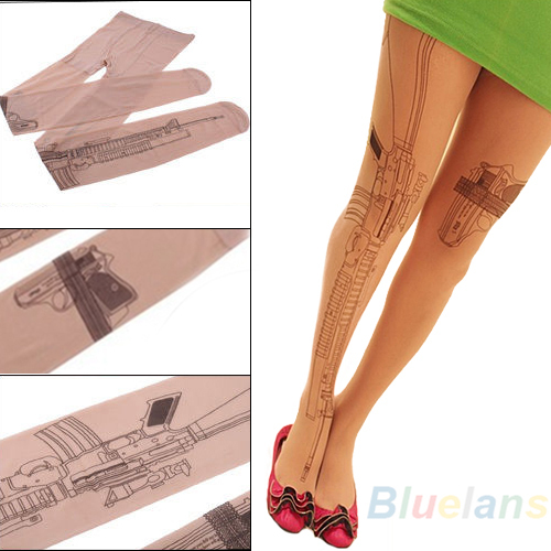 Sexy Machine Gun Tattoo Transparent Tights Stockings Pantyhose hot