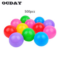 OCDAY 500pcs Toy Balls Safety Plastic Ocean Wave Ball Colorful Water Pool Ball Pits Toys For Children Baby 5.5cm Outdoor Toys