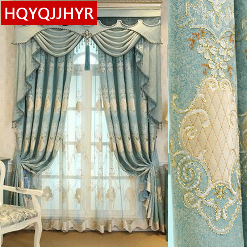 European And American Style Luxury Blue Embroidery Blackout Living Room French Window Curtain Upscale Bedroom Flat Curtains