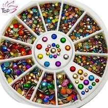 Colorful Octagonal Tablet Acrylic Rhinestones Nail Studs Tips Glitter Wheel 3D Nail Art Supplies DIY Decorations For Nails ZP043(China (Mainland))