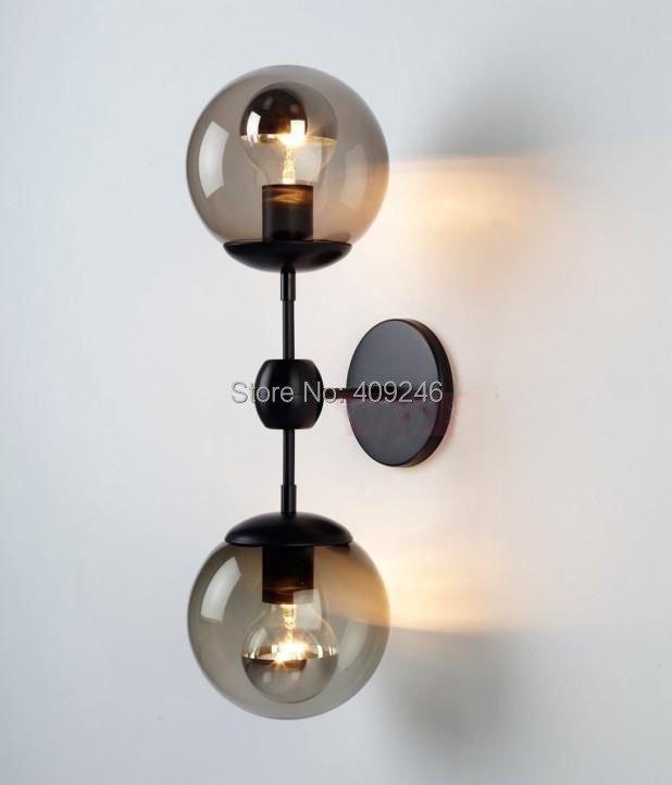 Edison Double Glass Ball Village RH loft Industrial Retro Mirror Wall Lamp E27 Lighting Cafe Bar Coffee Shop Store Club Hallway vintage industrial edison glass bottle wall lamp loft retro wall light bedroom aisle cafe bar store hall bedside hall lighting