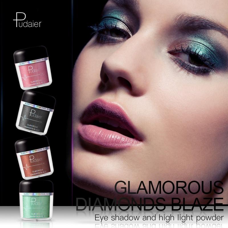 High quality brand Pudaier 28 color diamond pearl powder eye shadow metal highlight