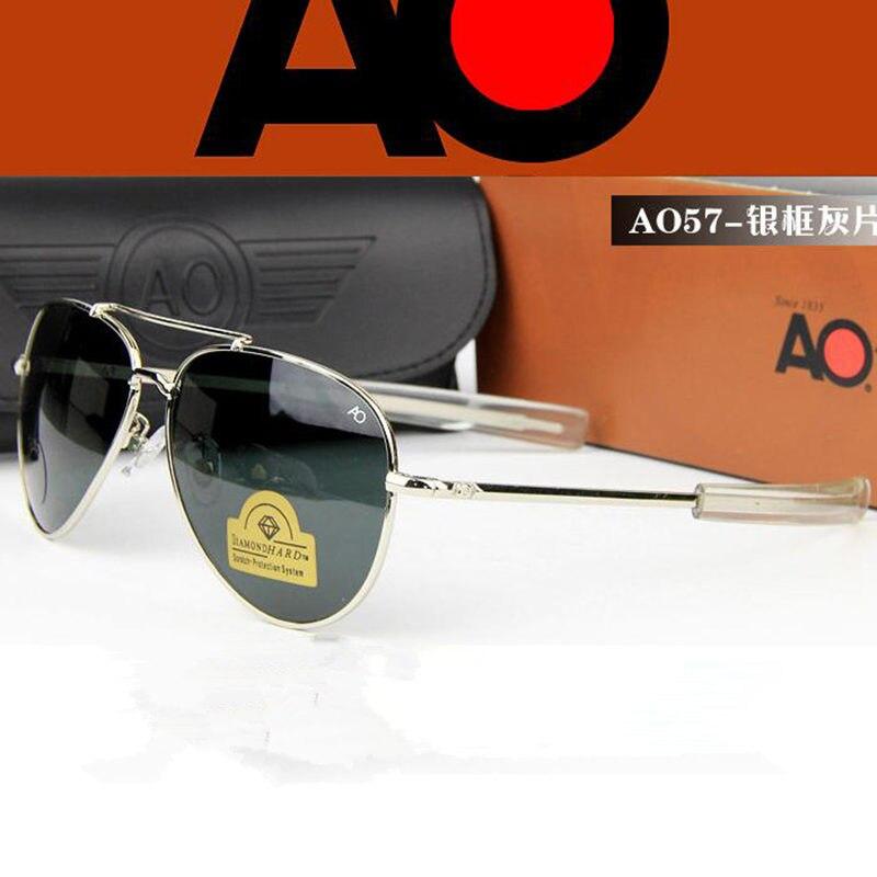 Aviação óculos de sol homem feminino 2019 exército americano militar óptica ao 8057 óculos de sol piloto tons de sol masculino