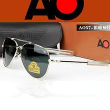 Aviação óculos de sol homem feminino 2020 exército americano militar óptica ao 8057 óculos de sol piloto tons de sol masculino