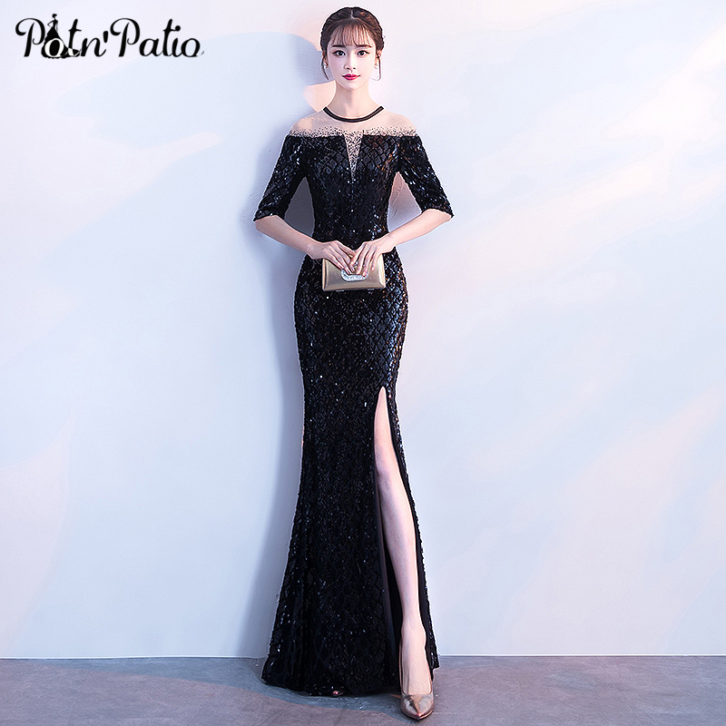 Black Mermaid Dress Sexy Slit Sequined Evening Dresses Long With Half Sleeves Plus Size Formal Dresses