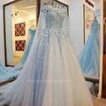 Luxury Real Photos Wedding Dresses 2017 With Long Veils Glamorous 3D Floral Flowers Ball Gowns Bridal Dress Vestido De Noiva