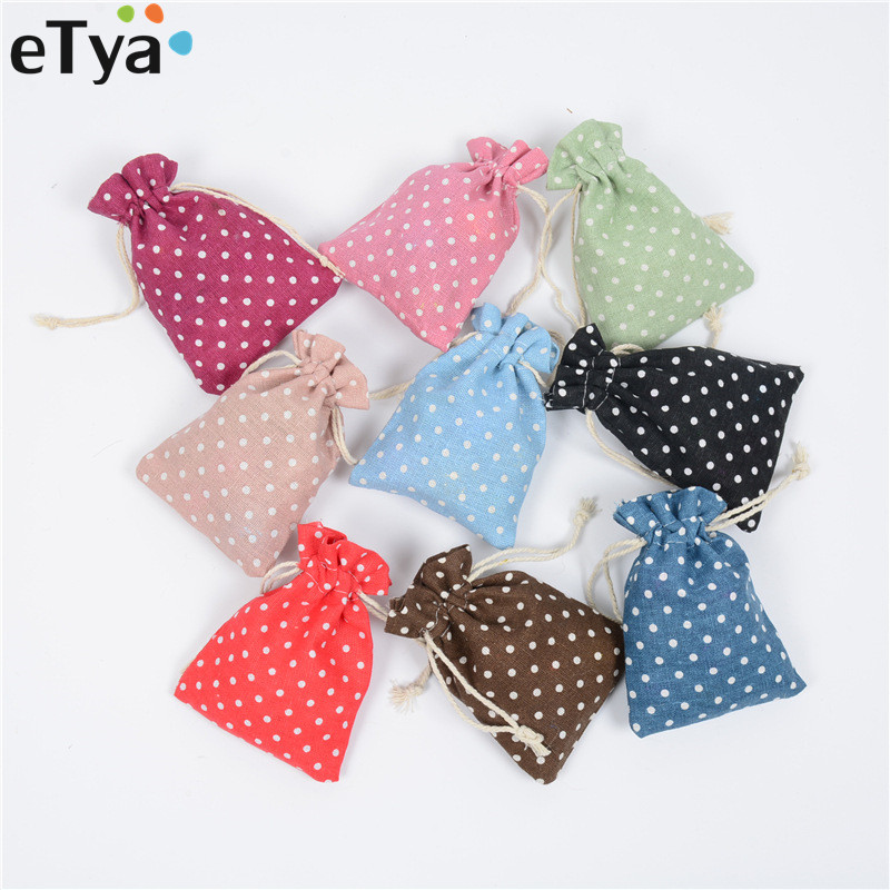 eTya Girl Small Dot Cotton Linen Drawstring Bag Women Money Coin Phone Card Storage Pocket Bag Pouch