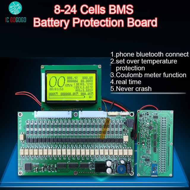 Smart Display 300A 200A 150A 100A 70A Lithium Battery Protection Board Balance BMS Coulomb Meter Li-ion Lipo lifepo4 7S 21S 24S