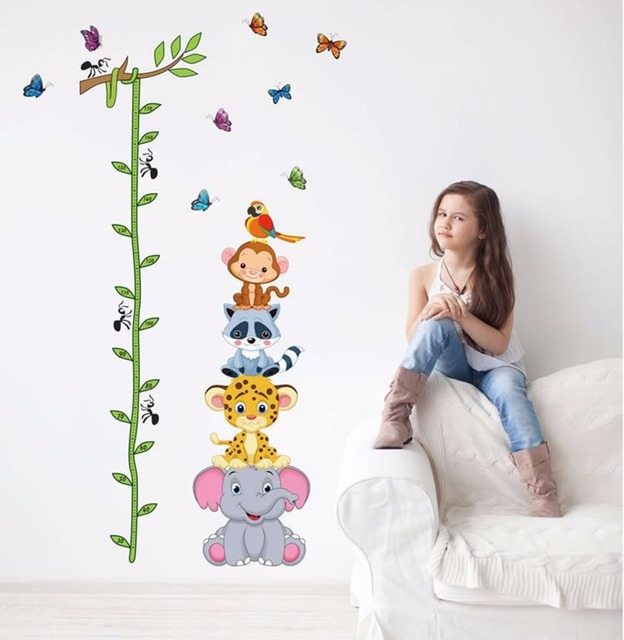 Cute tiger animals stack height measure wall stickers decal kids adhesive vinyl wallpaper mural baby girl boy room nursery decor
