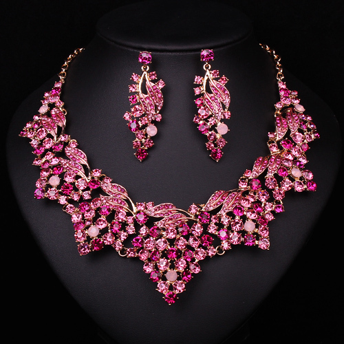 2015 latest  pink crystal rhinestone wedding bridal party  indian jewelry set gold plating choker necklace earring accessories