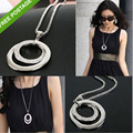 Maxi Necklace Collares Collier !hot Fashionable Ladies Wind Jewelry Exquisite Style Zircon Necklace Long Alloy Sweater Chain