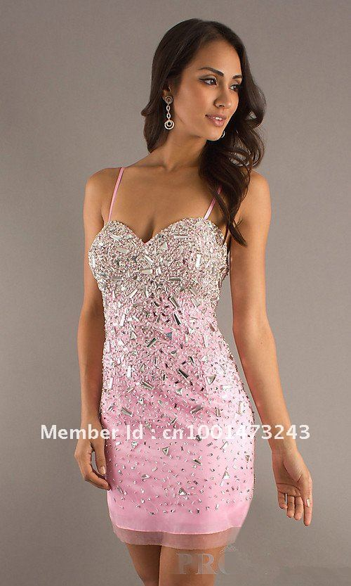 a5856db75706 C001 Sexy Spaghetti Strap Organza Pink Cocktail Dresses Beaded Sequin  Sheath Homecoming Dresses Wedding Dresses Bridal Gown-in Cocktail Dresses  from ...