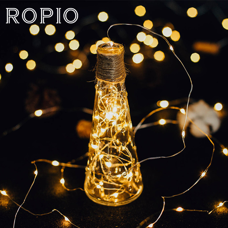ROPIO 2m 3m Copper Wire LED String Light Waterproof AA Battery Power LED String Lights For Festival Wedding Party Decor Gift