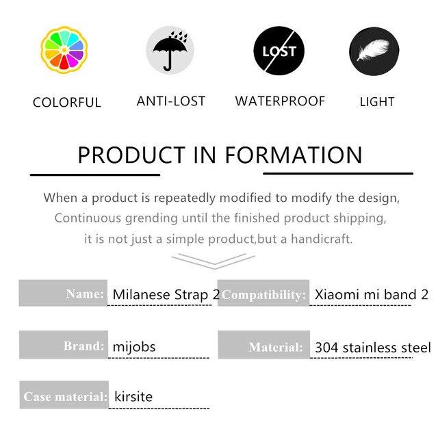 Mijobs Milanese Metal Strap For Xiaomi Mi Band 2 Smart Watch Screwless Stainless Steel Bracelet Miband 2 Strap Wristbands 3