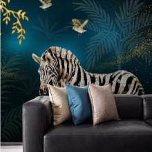 Modern fashion light luxury hand-painted golden fortune tree zebra crystal diamond background wall